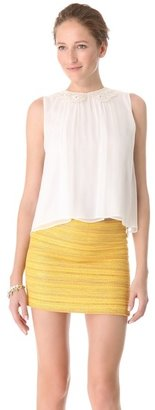 Alice + Olivia Chae Embroidered Collar Tank