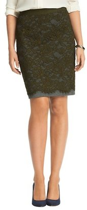 LOFT Tall Lace Overlay Ponte Pencil Skirt