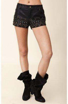 Free People Vegan Leather Studded Shorts