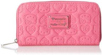 Hello Kitty Pink Embossed Zip Around Wallet