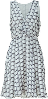 L'Agence LAgence Black, White, and Grey Draped Silk Dress