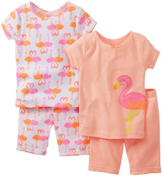 Carter's 4 Piece Cotton Short PJ Set (Toddler) - Flamingo-2T