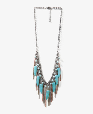 Forever 21 Faux Turquoise Fringe Necklace