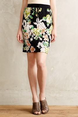 Anthropologie Lilka Quilted Floral Pencil Skirt