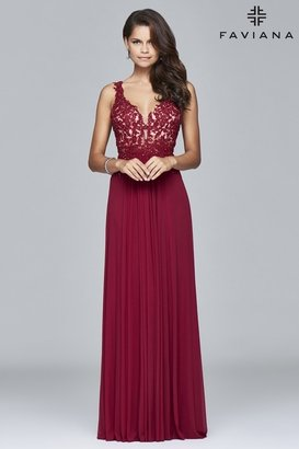 Faviana - 8000 Long mesh v-neck dress with lace applique $298 thestylecure.com