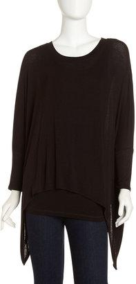 Neiman Marcus Dolman-Sleeve Handkerchief Tunic, Black