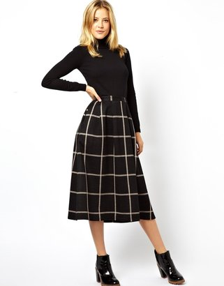 Asos Full Midi Skirt in Squared Check Print - Black