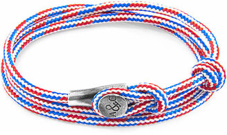 Anchor & Crew ANCHOR & CREW Project-rwb Red White And Blue Dundee Silver And Rope Bracelet