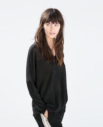Zara Wide Two-Tone T-Shirt