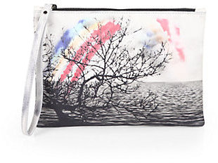 Mary Katrantzou Printed Leather Pouch Wristlet