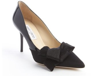 Jimmy Choo black satin and patent leather bow detail pump