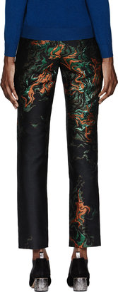 Cédric Charlier Black & Metallic Embroidered Pants