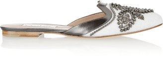 Oscar de la Renta Spanish Mule Embellished Linen and Leather Slippers