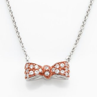 Sophie Miller 14k Rose Gold Over Silver & Sterling Silver Cubic Zirconia Bow Necklace