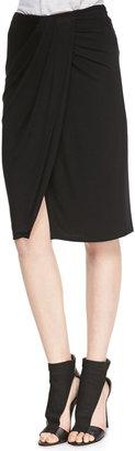 Ella Moss Tali Wrap Front Stretch Knit Skirt, Black
