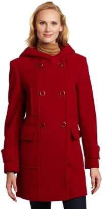 Larry Levine Women's Hooded Wool Duffle Coat