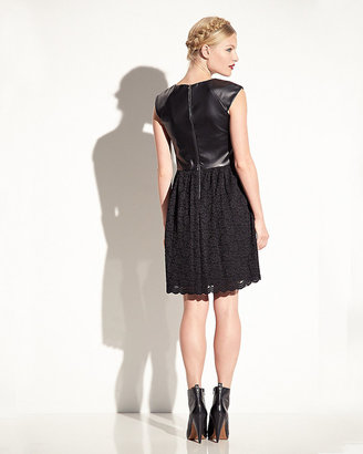 Betsey Johnson Faux Leather And Lace Dress