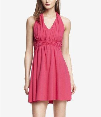 Express Pink Ruched Jersey Halter Dress