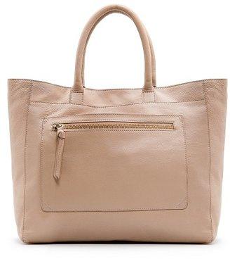 MANGO Pocket leather tote bag