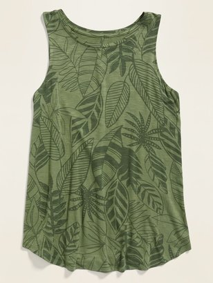 Old Navy Luxe Botanical-Print High-Neck Tank Top for Women