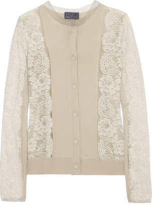 Lanvin - Lace And Silk-blend Cardigan - Off-white $2,660 thestylecure.com