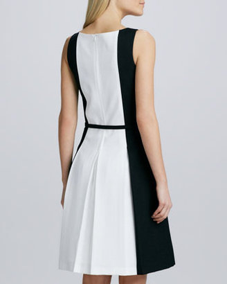 David Meister Sleeveless Belted Two-Tone Dress