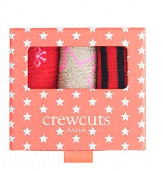 J.Crew Girls' holiday trouser socks three-pack gift box