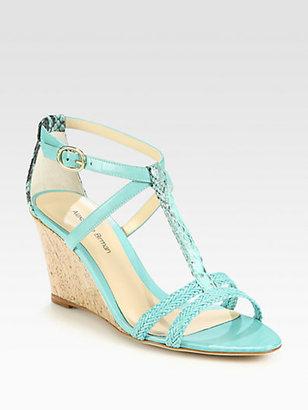Alexandre Birman Python & Braided Leather Demi-Wedge Sandals