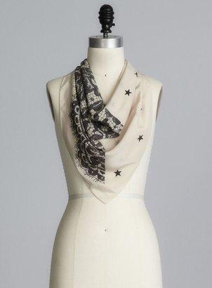 Moschino Lace Print Square Silk Scarf