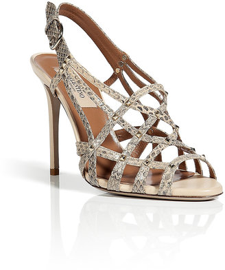 Valentino Natural Studded Python Sandals