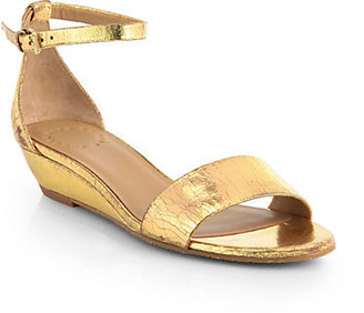 Marc by Marc Jacobs Crackled Metallic Leather Demi-Wedge Sandals