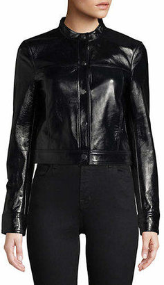 Theory Cropped Leather Jacket