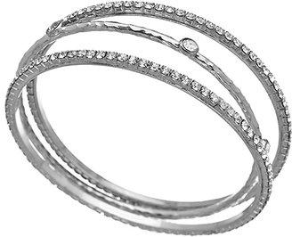 Athena Designs Set of Three Silver and CZ Bangle Bracelets