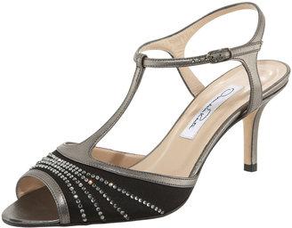 Oscar de la Renta Crystal-Detail T-Strap Sandal