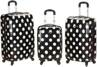 Rockland 3-Piece Hardside Spinner Polka Dot Luggage Set