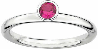 FINE JEWELRY Personally Stackable Lead Glass-Filled Ruby Sterling Silver High Profile Ring