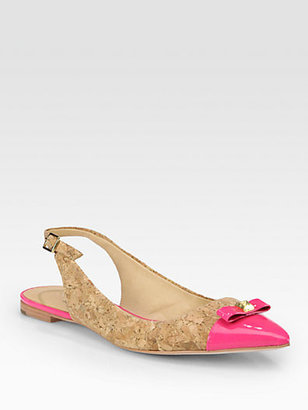 Kate Spade Ginny Cork & Patent Leather Slingback Flats