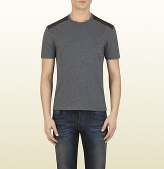 Gucci Grey Cotton T-Shirt With Leather Details
