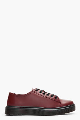 Dr. Martens Burgundy Leather Farrell Lace to Toe Shoes