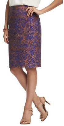 LOFT Tall Batik Bouquet Print Basketweave Cotton Pencil Skirt