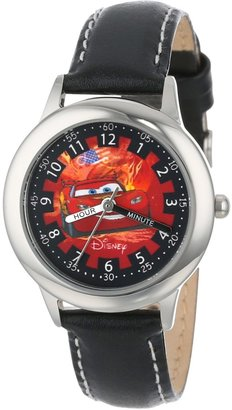 """Disney Kids' W000092 """"Cars"""" Stainless Steel Time Teacher Watch with Leather Band"""