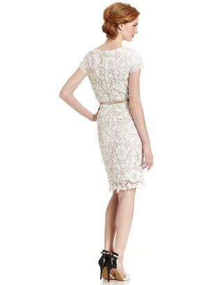 Luxology Dress, Cap-Sleeve Belted Crochet Lace