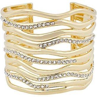 Kara Ross 10021   18K Gold-Plated & Crystal Wave Cuff
