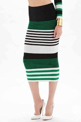 Torn By Ronny Kobo Alternative Stripes Ronny Skirt in Greco