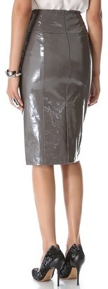 Maison ullens Laminated Leather Skirt