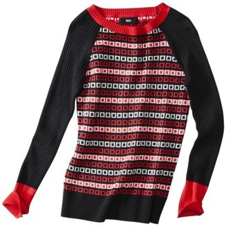 Mossimo Women's Long Sleeve Red/White Geometric Print Pullover Sweater