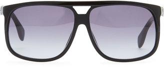Alexander McQueen Silver Skull Square Sunglasses, Black