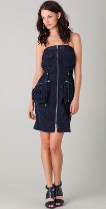 Alexander Wang Strapless Peplum Cargo Dress