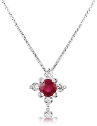 Diamond and Ruby Flower 18K Gold Pendant Necklace