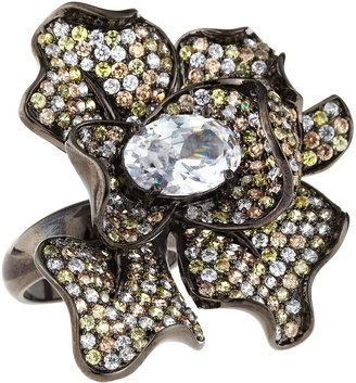 Kenneth Jay Lane CZ by Pave Cubic Zirconia Flower Ring, Size 7